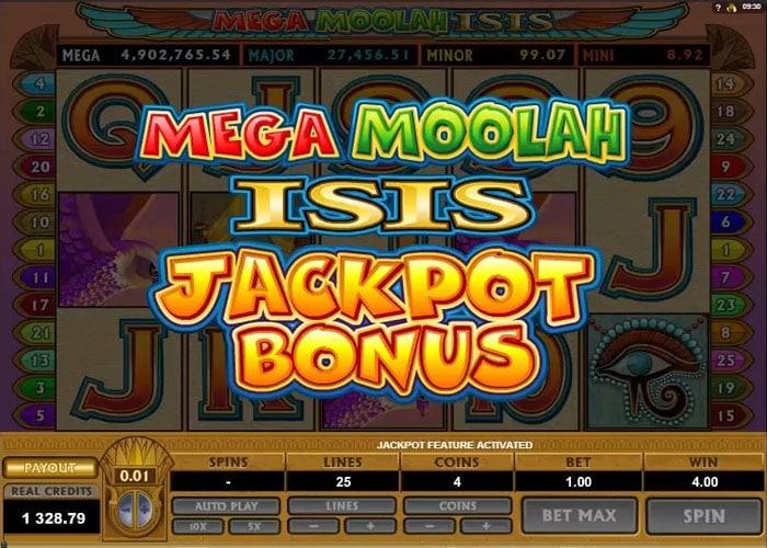 Mega Moolah Isis jackpot