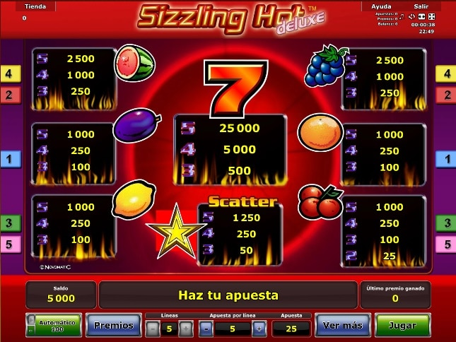 Sizzling Hot deluxe premios
