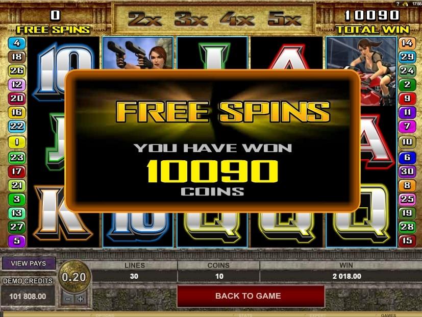 Tomb Raider premio free spins