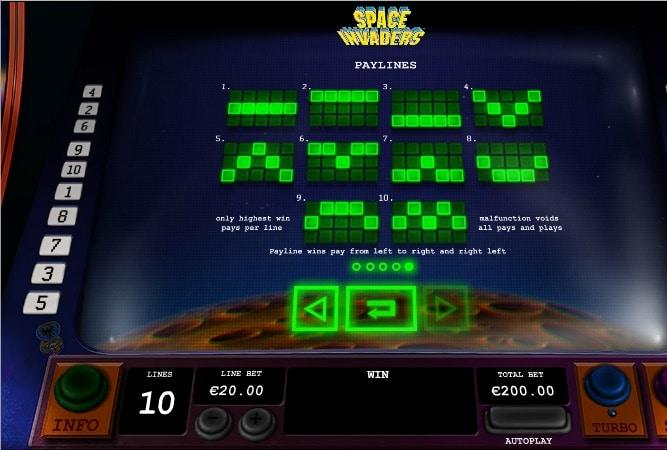 Space Invaders líneas de pago