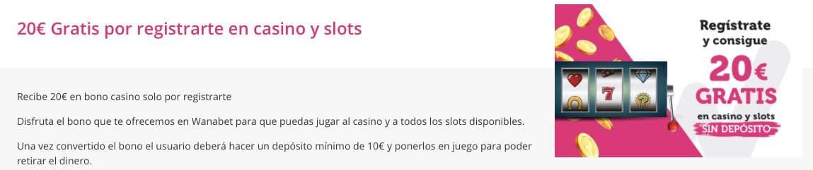 Wanabet 20€ sin deposito