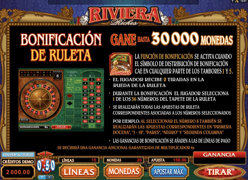 Riviera Riches bonificación