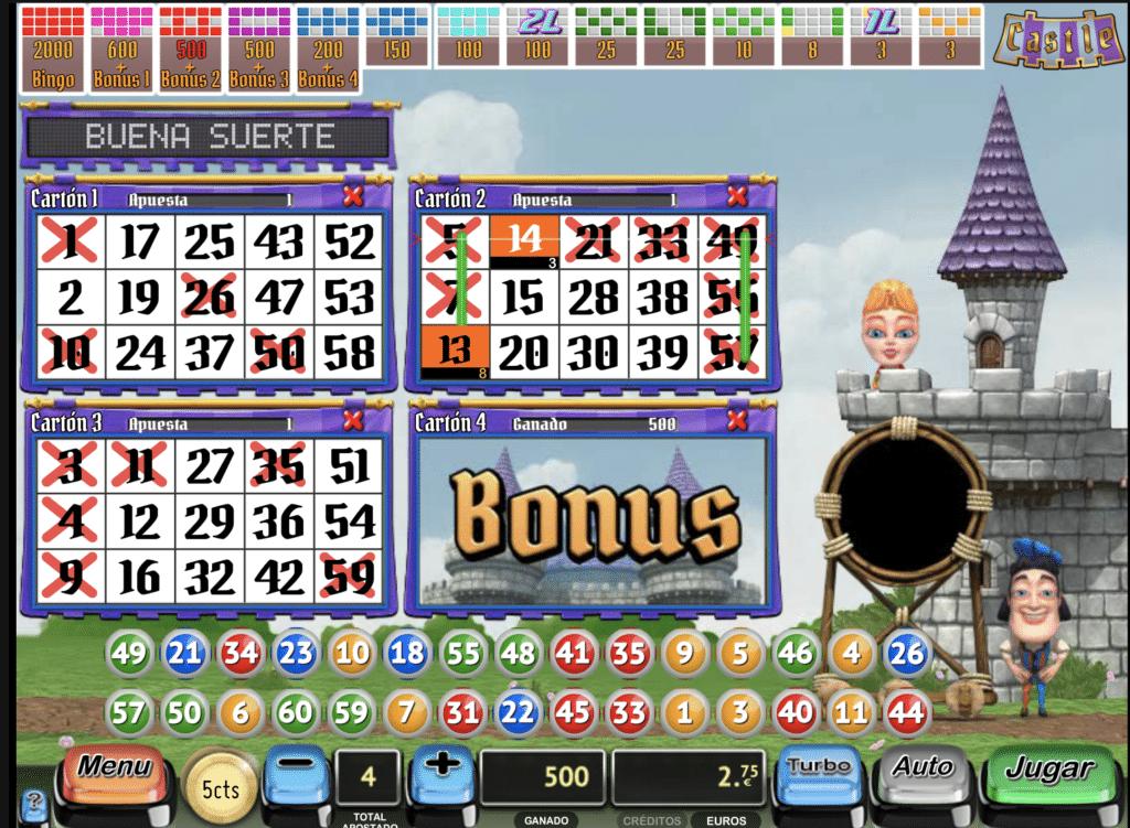 Castle bingo tragaperras premio