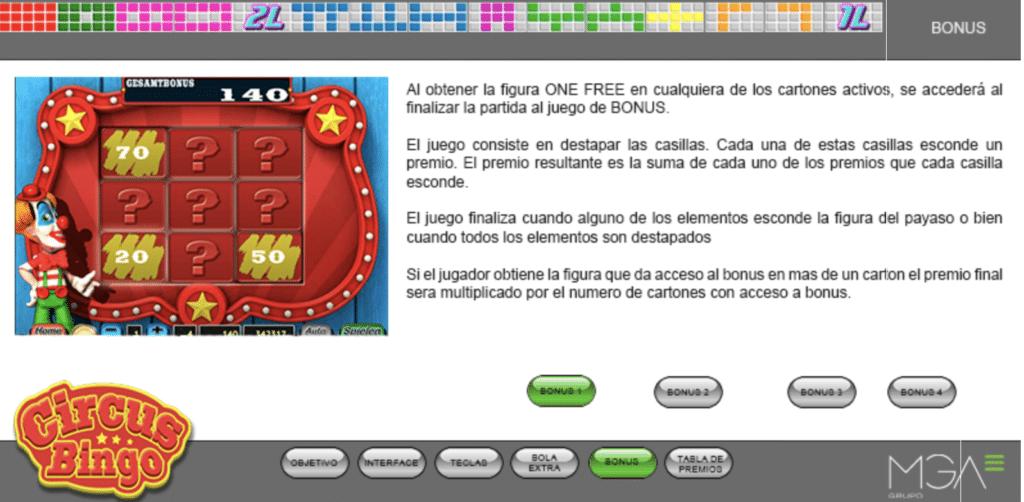 Circus Bingo tragaperras bonus