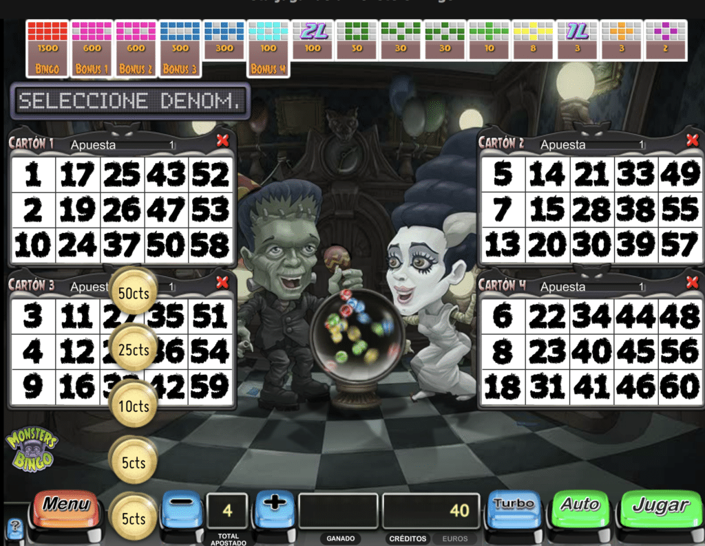 Monsters bingo tragaperras