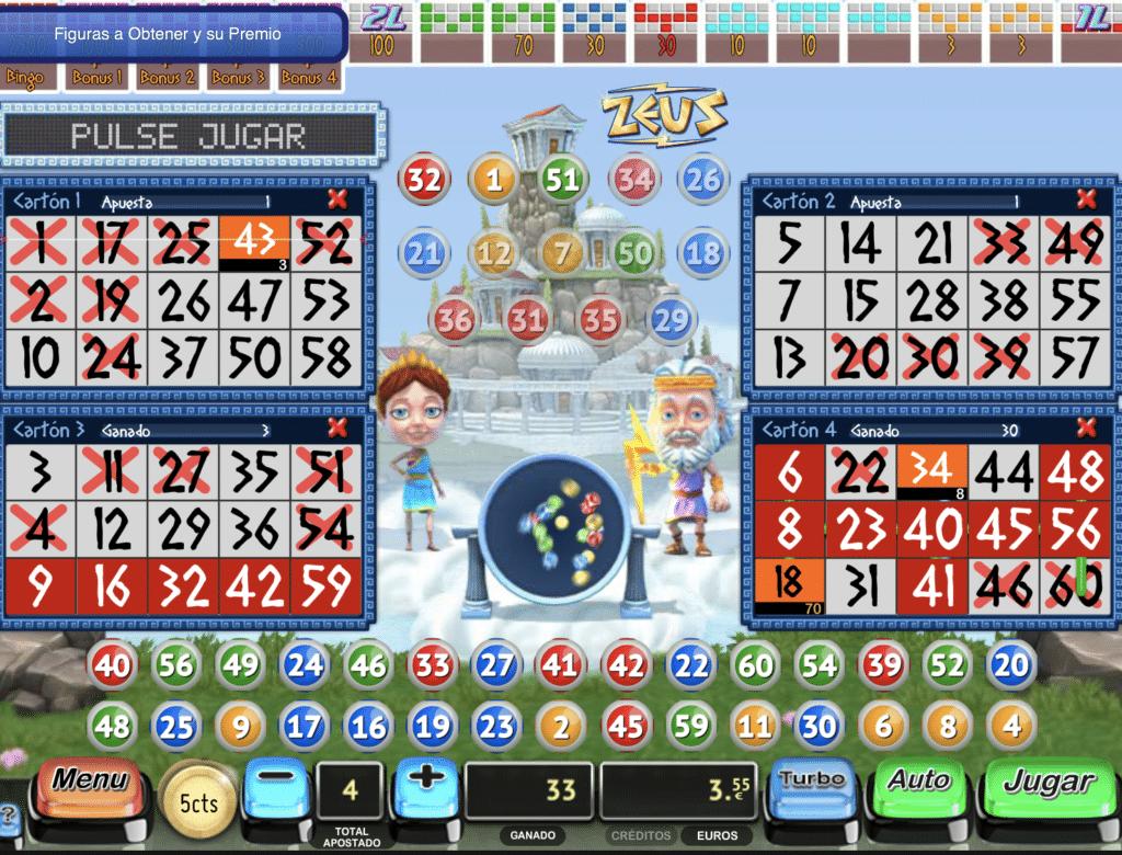 Zeus Bingo tragaperras premios