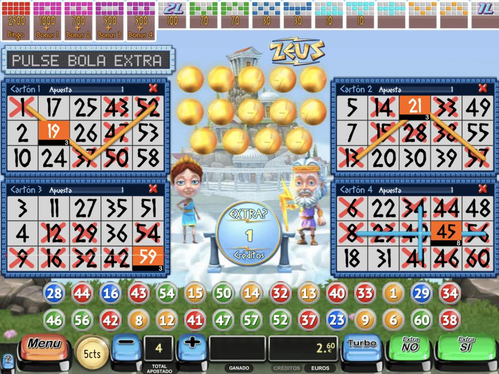 Zeus bingo tragaperras bola extra