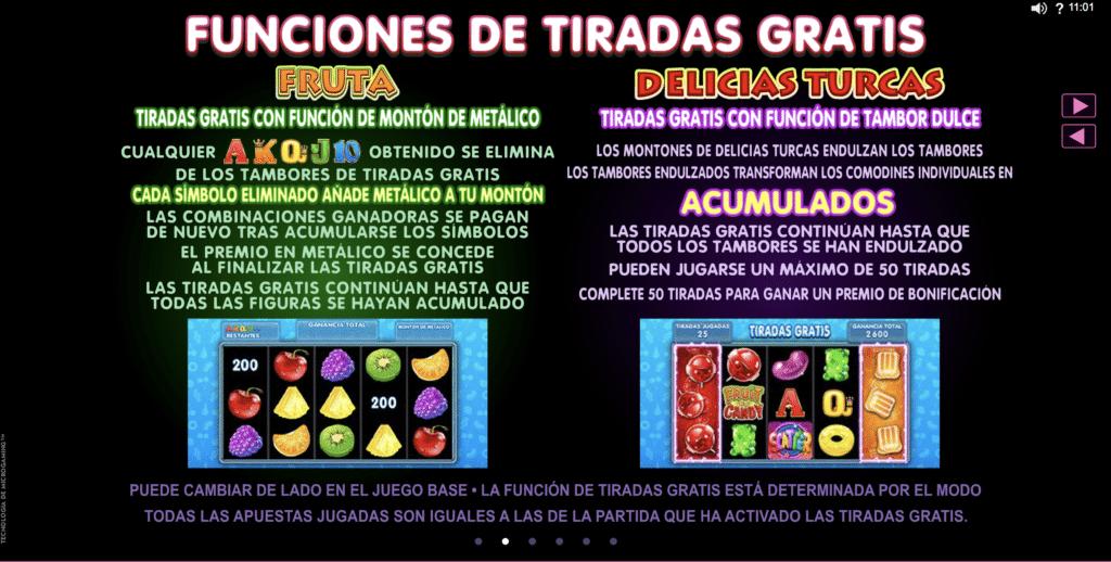 Fruit & Candy funciones