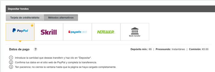 Depósitos PayPal