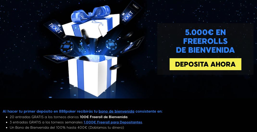 888Poker freerolls de bienevenida