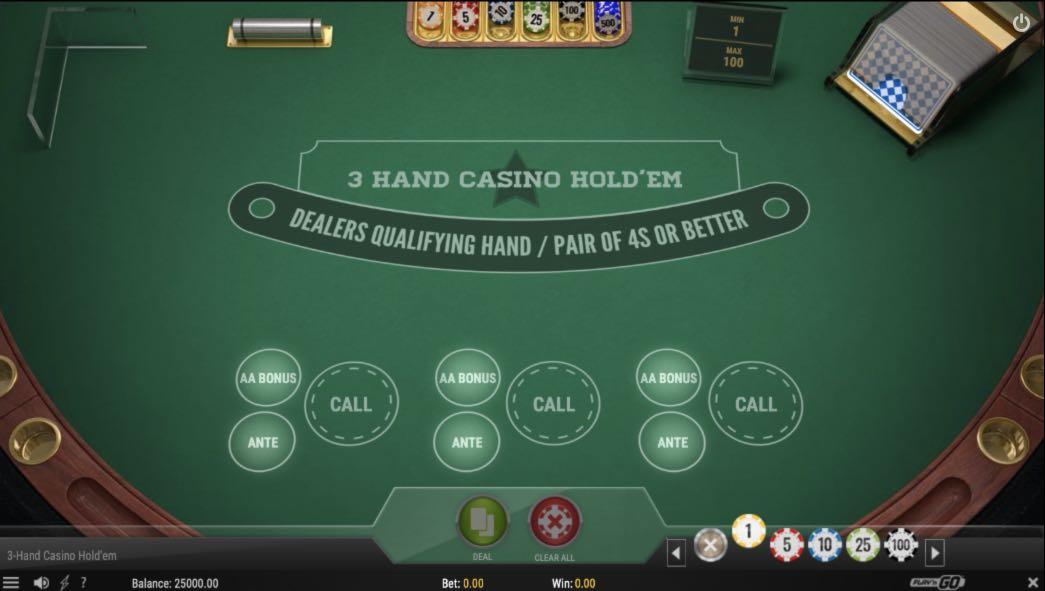3 hands Casino Holden Play'n' GO